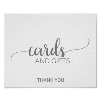 Silver Grey Calligraphy Cards and Gifts Sign