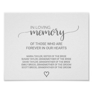 Silver Grey Calligraphy In Loving Memory Sign