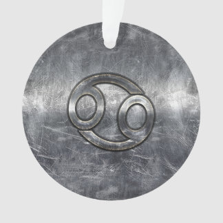 Silver Grey Cancer Zodiac Sign in Distressed Style