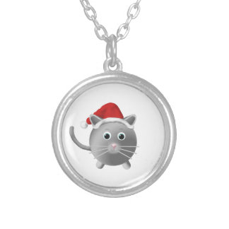 Silver Grey Cat Christmas Silver Plated Necklace