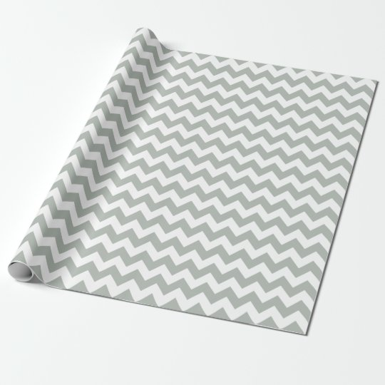 Silver Grey Chevron Zigzag Wrapping Paper