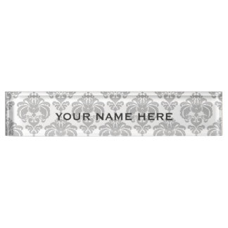 Silver Grey Damask Elegant Glam Personalized Nameplate