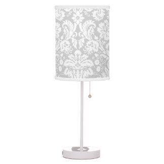 Silver Grey Damask pattern Desk Lamps