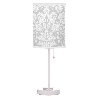 Silver Grey Damask pattern Table Lamp