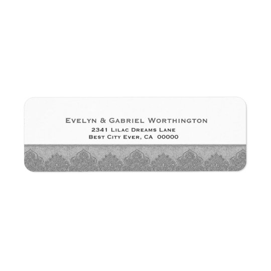 Silver Grey Damask Trim Wedding Ver D004 Return Address Label