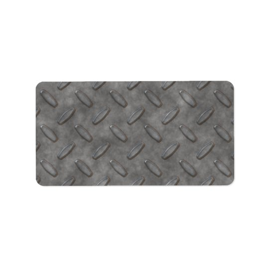 Silver Grey Diamond Plate Textured Label