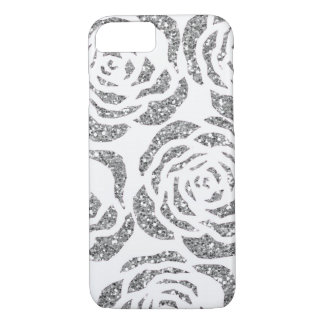 Silver Grey Faux Glitter Roses White iPhone 7 Case