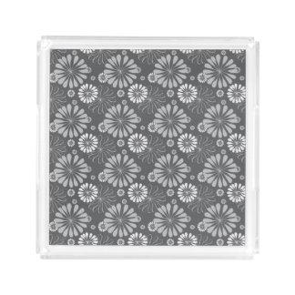 Silver Grey Floral Acrylic Tray
