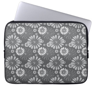 Silver Grey Floral Laptop Sleeve