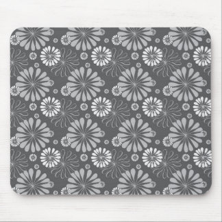 Silver Grey Floral Mouse Pad