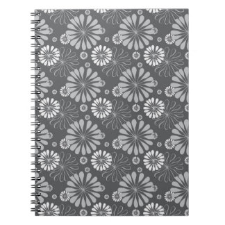 Silver Grey Floral Notebooks
