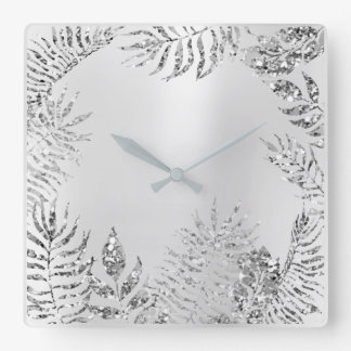 Silver Grey Floral Palm Monochrom Metallic Glitter Square Wall Clock