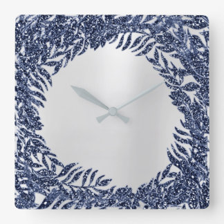 Silver Grey Floral Palm Tropical Navy Blu Metallic Square Wall Clock