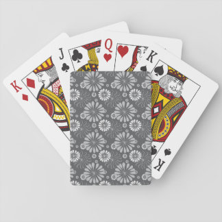 Silver Grey Floral Playing Cards