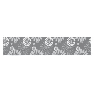 Silver Grey Floral Short Table Runner