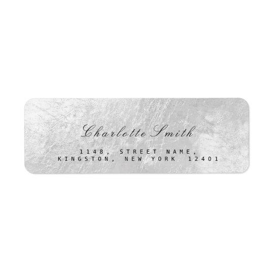 Silver Grey Foil Metal Return Address Labels