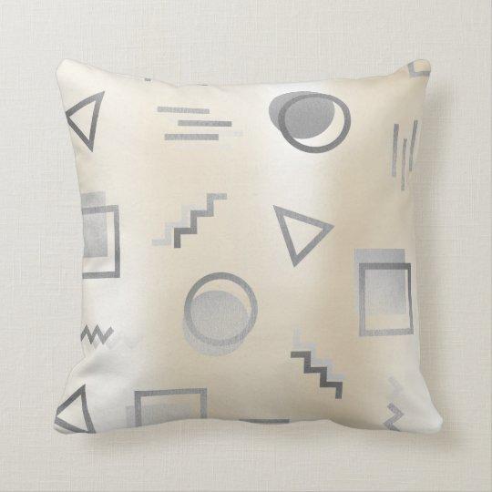 Silver Grey Geometry Retro Pearly Creamy Ivory Throw Pillow