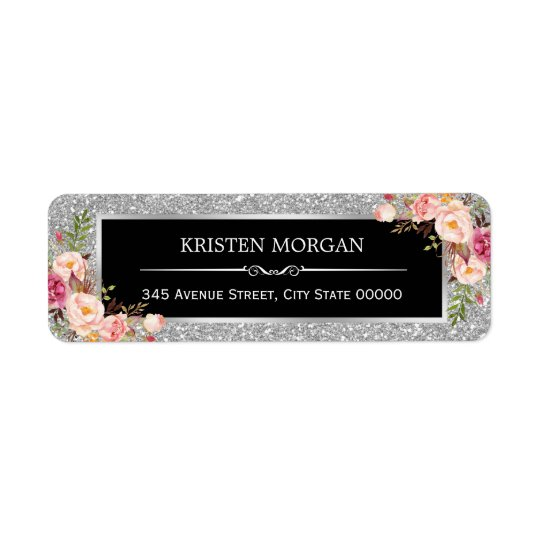 Silver Grey Glitter Sparkles Classy Pink Floral