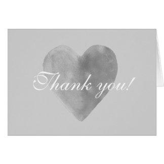 Silver Grey Heart Romantic Thank you Card