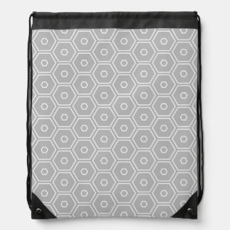 Silver Grey Hexagon Geometric Cinch Bag