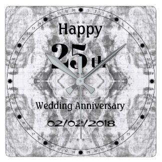 Silver Grey Marble 25th Wedding Anniversary Square Wall Clock
