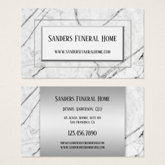 Silver Grey Marble Chic Business Card