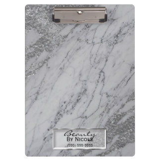 Silver Grey Marble Modern Fashion Personalized Clipboard