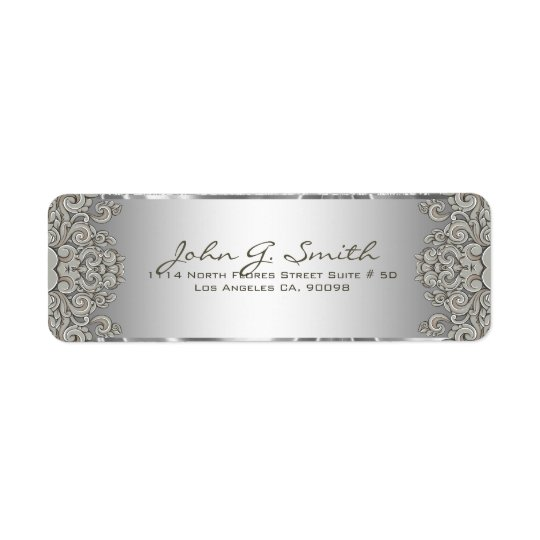 Silver Grey Metallic Pattern Floral Swirls