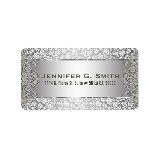 Silver Grey Metallic Pattern Floral Swirls Label