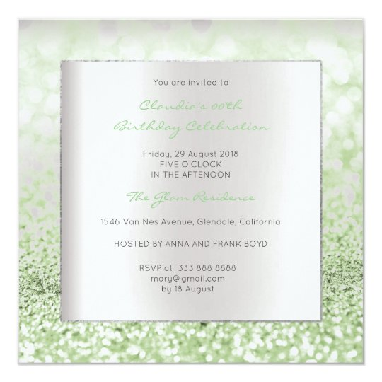 Silver Grey Minimal Birthday Mint Green Glitter Card