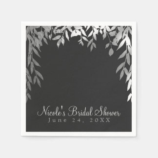 Silver & Grey Modern Glam Botanical Leaves Wedding Disposable Napkin