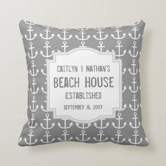 Silver Grey Nautical Theme with Anchors A03B Throw Pillow