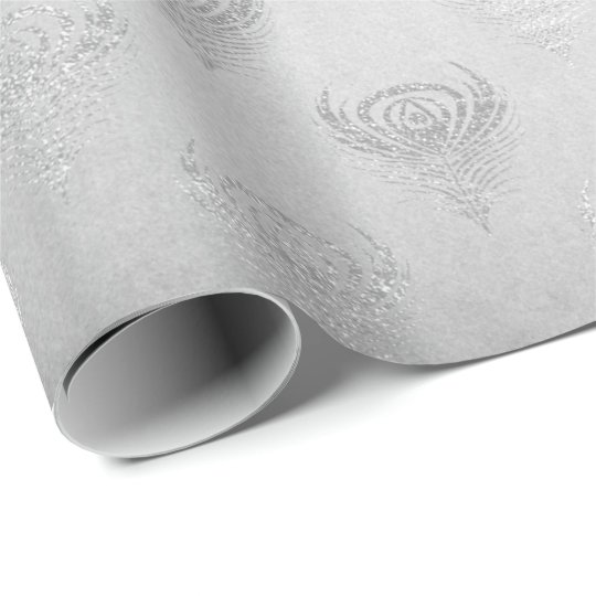 Silver Grey Peacock Metallic Shiny Monochromatic Wrapping Paper