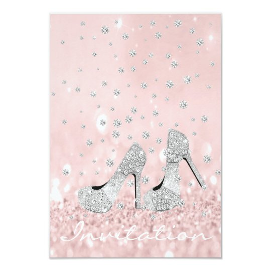 Silver Grey Pink Diamond Shoes Glitter Bridal Card