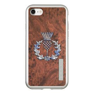 Silver Grey Scottish Thistle Decor on a Incipio DualPro Shine iPhone 8/7 Case