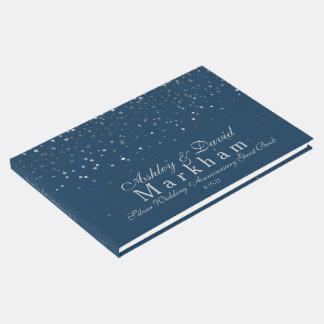 Silver-Grey Stars Silver Anniversary Guest Book 25