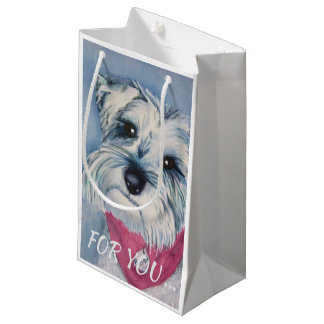 SILVER GREY SWEET SCHNAUZER SMALL GIFT BAG