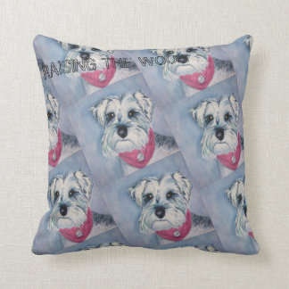 SILVER GREY SWEET SCHNAUZER THROW PILLOW