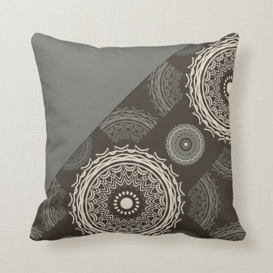 Silver Grey Taupe Circles Abstract Throw Pillow