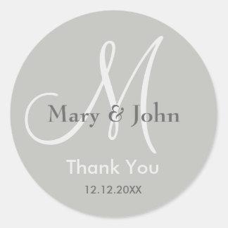 Silver Grey Thank You Wedding Monogram Seal