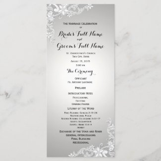 Silver Grey Vintage Floral Lace Wedding Program