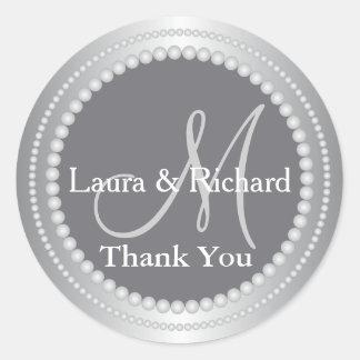 Silver Grey Wedding Favour Thank You Monogram Round Sticker
