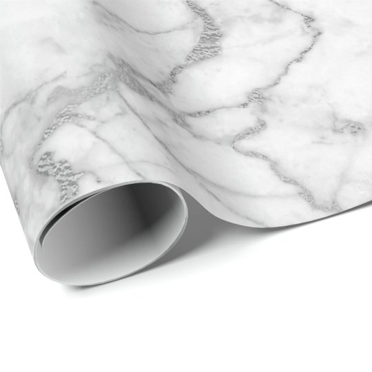 Silver Grey White Carrara Marble Stone Glam minima Wrapping Paper