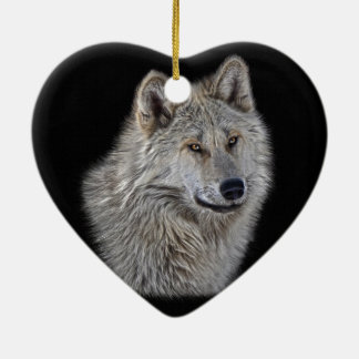 Silver Grey Wolf Wildlife Portrait Ceramic Heart Ornament