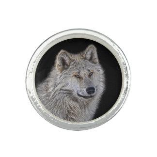 Silver Grey Wolf Wildlife Portrait Ring