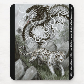 Silver Guardians Dragon and Tiger Mousepad