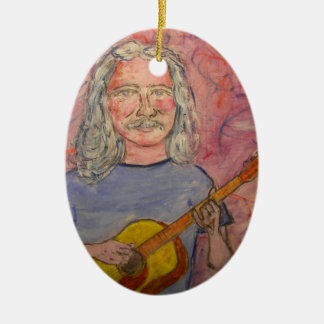 silver haired folk rocker ceramic oval ornament