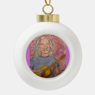silver haired folk rocker dude ceramic ball ornament