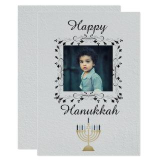 Silver Hanukkah Photo Card