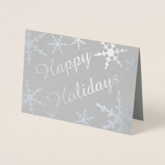 Silver Happy Holidays Script Snowflakes Foil Card